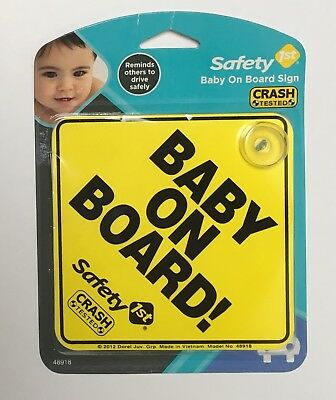 "Baby On Board Sign 5"" x 5"" Yellow & Black Suction Cup Car Window Crash Tested"