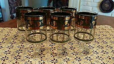 Vintage Mid Century Cera Golden Grapes Cordial, Port, Sherry Glasses, Set of 6