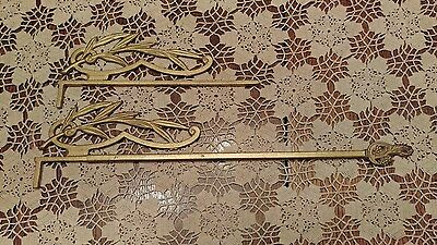 Pair Vintage Art Deco Cast Iron Extending  Ornate Curtain Rod Holders Gold