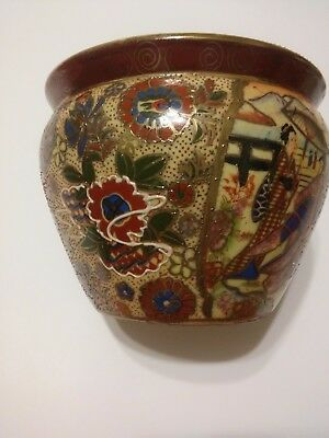 Beautiful Painted Chinese Vase. Raised Detailing. Lovely Colors.