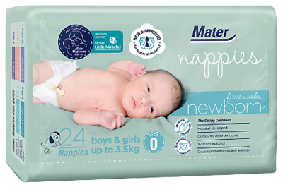 Mater Nappies Newborn First Weeks up to 3.5kg: features umbilical cord protectio