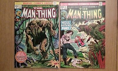 The Man-Thing #1 (1974) and Man-Thing #2 (1974) -Frank Brunner art- HIGH GRADE!