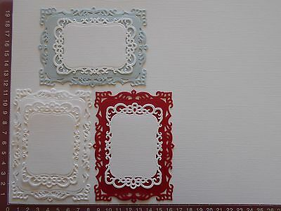 Die cut and Embossed Mats x 6, Card Toppers, Embellishments, Christmas Colours B