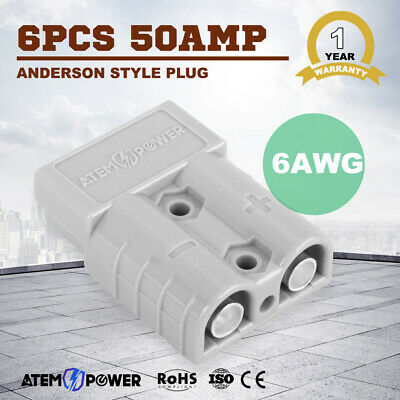 6x 50 AMP Anderson style plugs Caravan Exterior Solar Panel Connector DC 6AWG