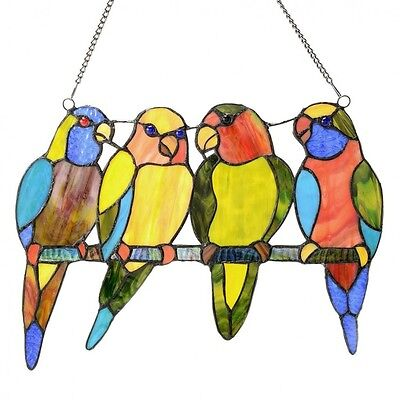 """Hanging Stained Glass Panel Window Art 10.5"""" High Tropical Birds Tiffany Style"""