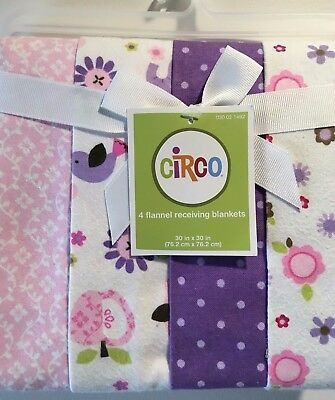"New, NWT, Circo 4 Pack Flannel Receiving Blankets, Baby, Girl, 30""x30"""