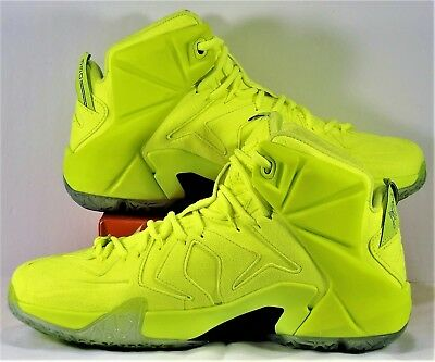 4cfe1c334bbad Nike LeBron XII 12 EXT Tennis Ball Volt Basketball Shoes Sz 7.5 NEW 748861  700