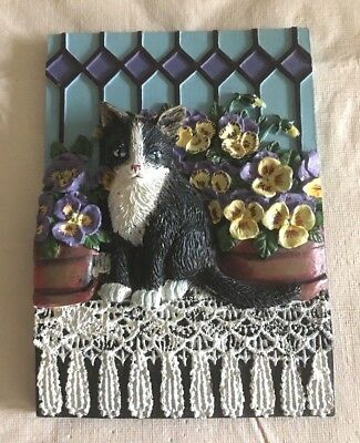 "Dimensional Cat Themed Wall Plaque, ""Pansies and Lace"""