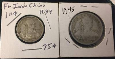 1939 AND 1945 French Indo-China 10 cents  TWO COINS