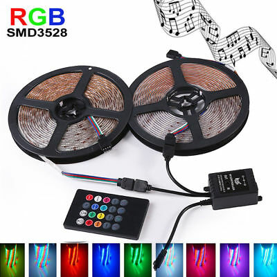 10M 3528RGB LED Strip WATERPROOF Flexible Light 12V + Music IR Remote Controller