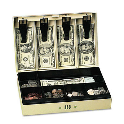 Steel Cash Box w/6 Compartments, Three-Number Combination Lock, Pebble Beige