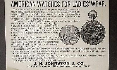 Antique 1888 Ad (1800-14)~The American Watch For Ladies. Broadway, Ny.