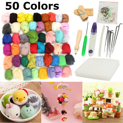 50 Colors Soft Wool Felt + Felting Needles Tool Set Mat Starter Kit Crafts DIY