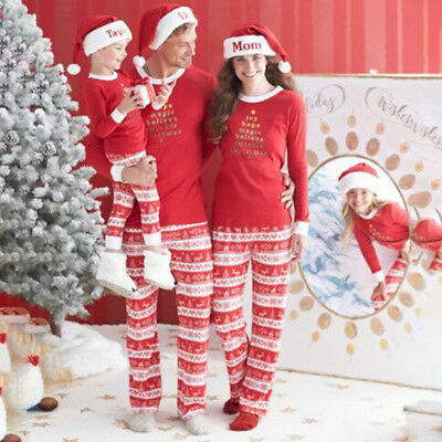 Christmas Family MatchingPajamas Set Sleepwear Nightwear Adult Children Pyjamas