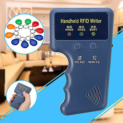 Handheld RFID ID Card Copier Reader Writer Duplicator w/ 10 Writable EM4305 Tags