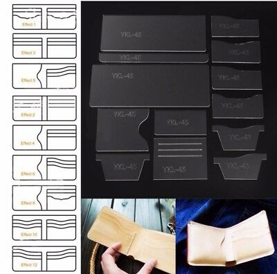 13x New Clear Acrylic Wallet Pattern Stencil Set Leather Craft DIY Tool S4
