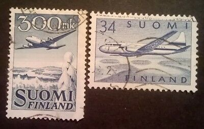 FINLAND STAMPS - 1950 to 1958 - AIRMAIL - SET OF 2 - USED
