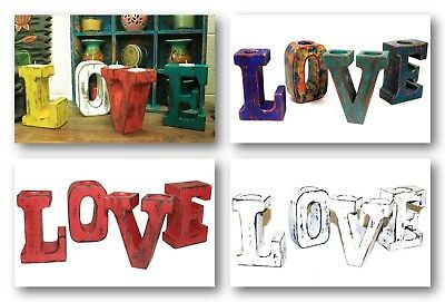 Shabby Chic LOVE Big Wooden Letters - Tealight Candle Holders Various Colours