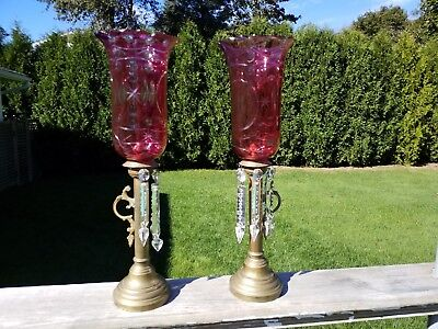 Russian Antique Cut Glass Lighting Old Victorian Candle Stick Holder