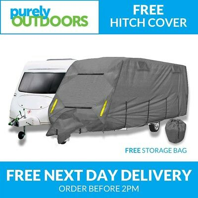CoverPro Premium Breathable 4-Ply Full Grey Caravan Cover - Fits 14-17ft W342Y