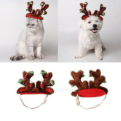 90f967b40a45e Cute Pet Dog Cat Christmas Reindeer Cosplay Hat Headband Antlers Headwear S