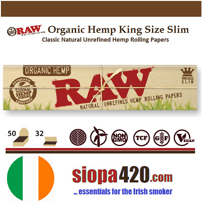 RAW Organic Hemp Kingsize Slim [110mm] | Natural Unrefined Rolling Paper [Skins]
