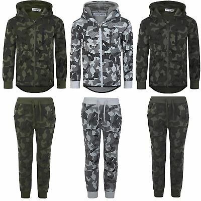 Boys Geometric Camo Print Tracksuit Kids Hood Top Jogging Bottoms Sizes 3-14 Y