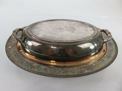 Large English YYY Silver Divided Entree Serving Dish, c1900