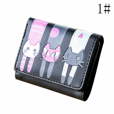 Girl Cat Pattern Coin Purse Clutch Leather Short Wallet Card Holders New.