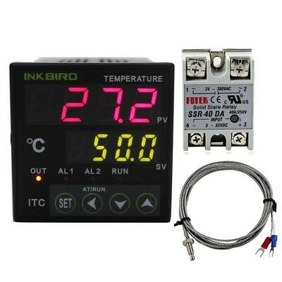 dual digital pid temperature controller 2 omron relay thermostat 110-240v