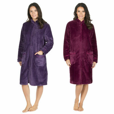 Forever Dreaming Ladies Fluffy Waffle Fleece Zip Up Dressing Gown Housecoat New