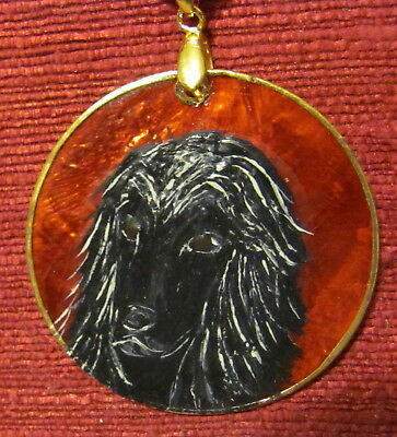 Afghan Hound, black, hand painted on round, red Capiz shell pendant/bead/necklac