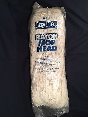 12 NOS Impact Layflat Screw Type Regular Cut End Rayon Wet Mop Head, 32 oz White