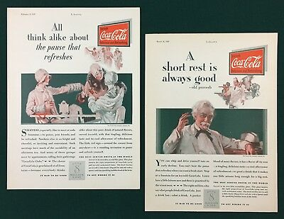 1929 COCA-COLA COKE ads (2) Original & Vintage Deco. Great Gift!