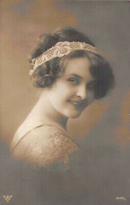PRETTY LADY VINTAGE SAMPLE PHOTO POSTCARD John Thridgould & Co Head Jewelry Band