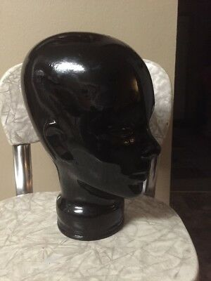 Unique Mid Century Retro Black Glass Mannequin Store Display Head Bust Wig Hat