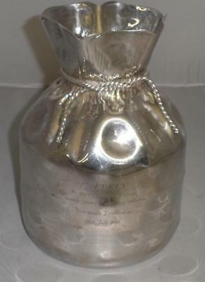 Antique Silver Plate Almazan 'Sack' Vase 'Betty - 31st July 1988'