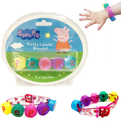 Peppa Pig Lip Balm Kids Mini 5 Set Balm Bracelet Girls Pack Gift Kit Chap Gloss