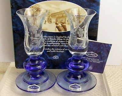 Beautiful Duiske Irish Hand Cut Glass Candle Holders Cobalt Blue Base New in Box