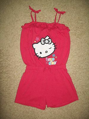 Used Child Girl Size 6X Hello Kitty Pink Sleeveless Shorts One Piece Romper