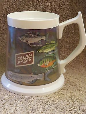 Flambeau Schlitz Beer Mug - Plastic Thermal Insulated -  Fish Species  Design