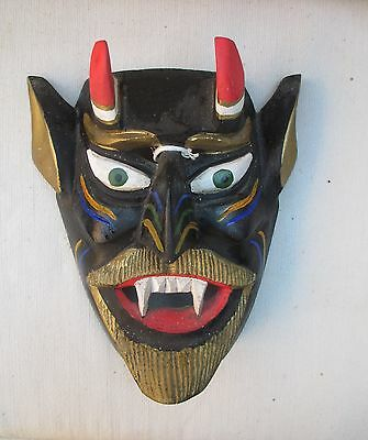Devil Diablo Black Mask with Horns, Hand-Carved and Painted Wood, Vintage, Mexic