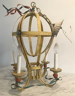 RARE VINTAGE 1940s FRENCH TOLE CHANDELIER HOT AIR BALLOON 4 ARM ANTIQUE