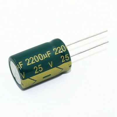 10PC 2200uF 25V High Frequency Radial Electrolytic Capacitors 105°C 13x21mm