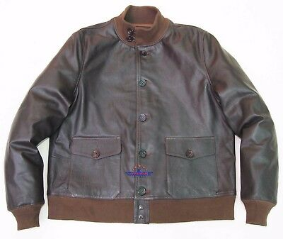 fa1a721625a Men Real Goatskin Leather AirForce A-1 Field Jacket Varsity Pilot Flying  Aviator