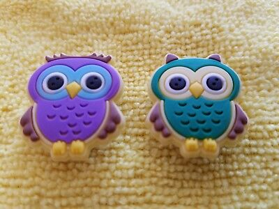 CUTE OWLS PAIR shoe charms/cake toppers!! FAST USA SHIPPING