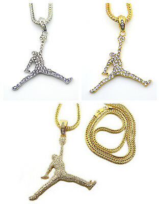 Jordan Cuban Chain Necklace Gold Silver Iced Out Icy Pendant Bling Bling