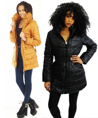 Women Ladies Quilted Padded Puffer Bubble Fur Collar Warm Jacket Coat Sizes 8-14