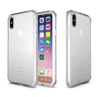 Transparent Clear Hard Back Case Silicone Bumper Cover for Apple iPhone X (10)