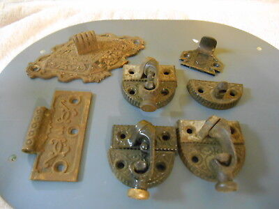 Lot Of Vintage Cast Iron Window Hardware, Stays, Victorian, Holds,ornate,old !
